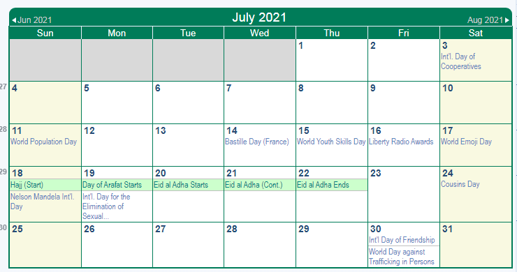 July 2021 Calendar with Holidays South Africa