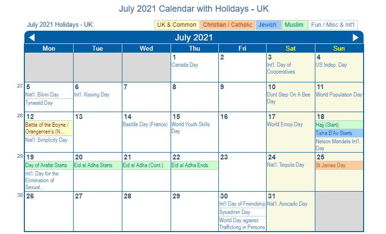 July 2021 Calendar with Holidays UK