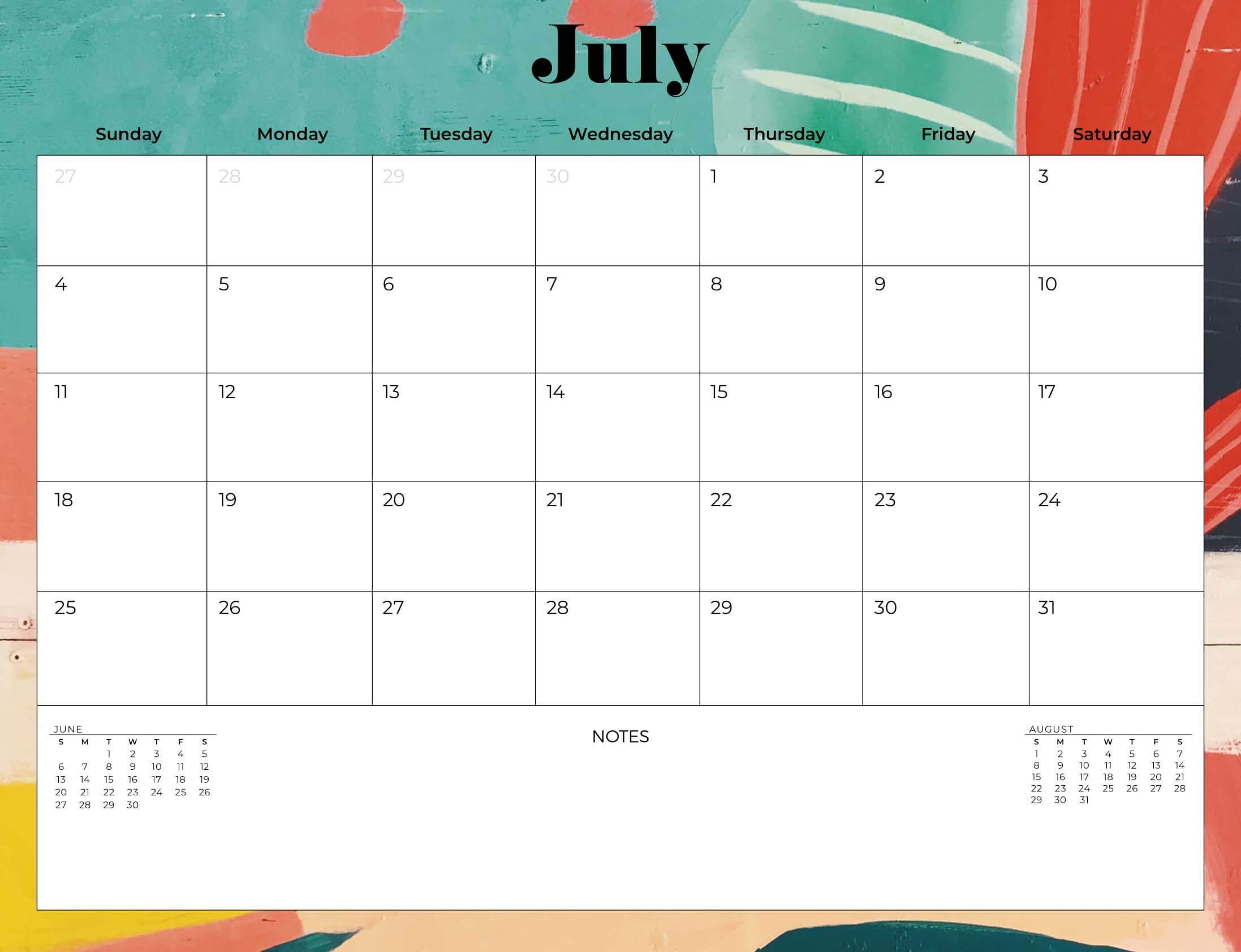 July 2021 Desk Calendar Design