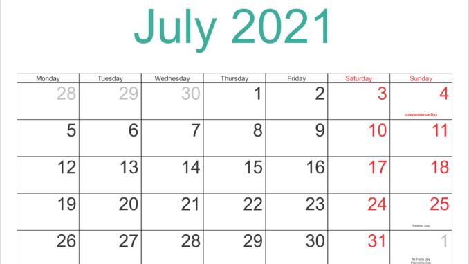July 2021 Federal Holidays Calendar