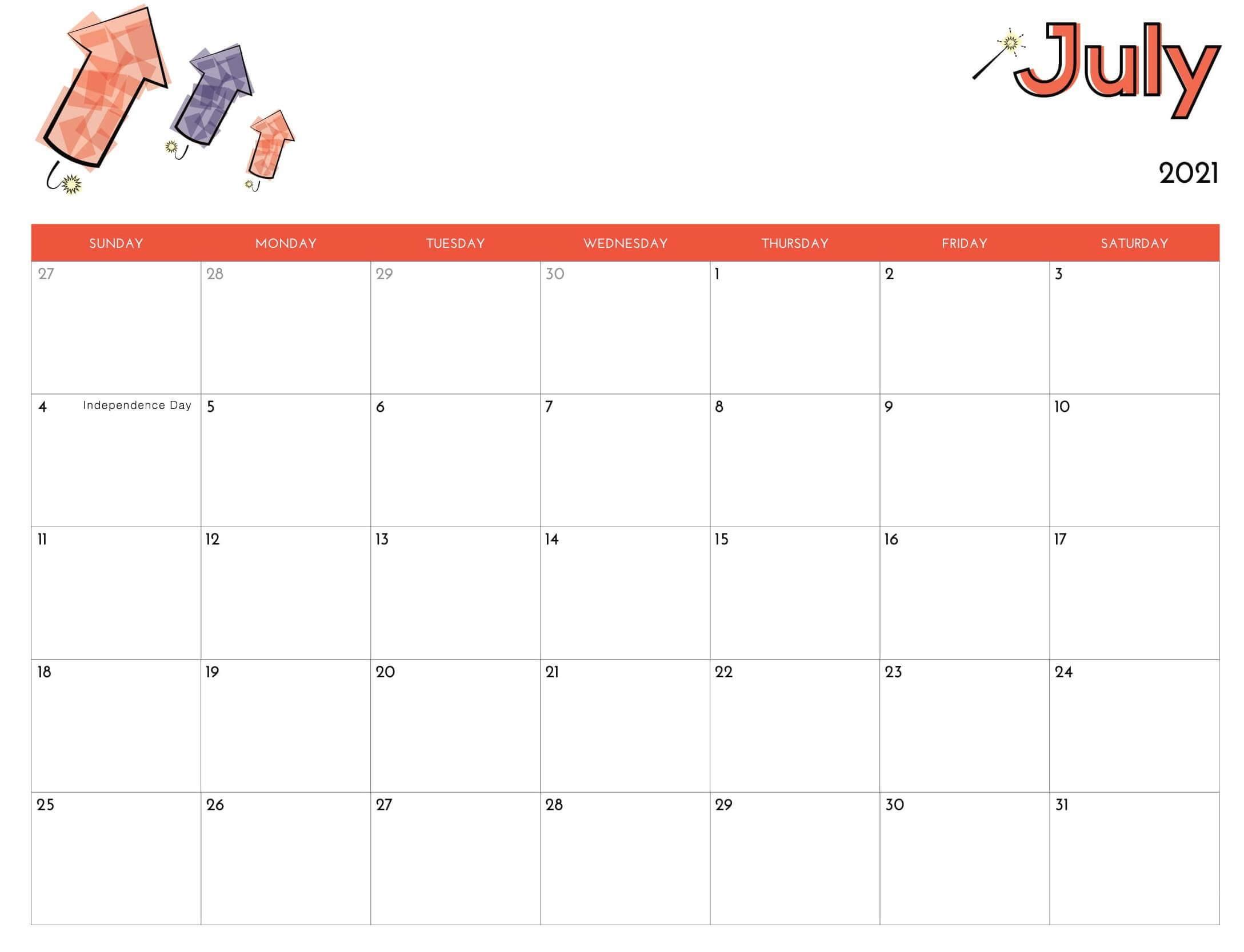 July 2021 Fillable Calendar