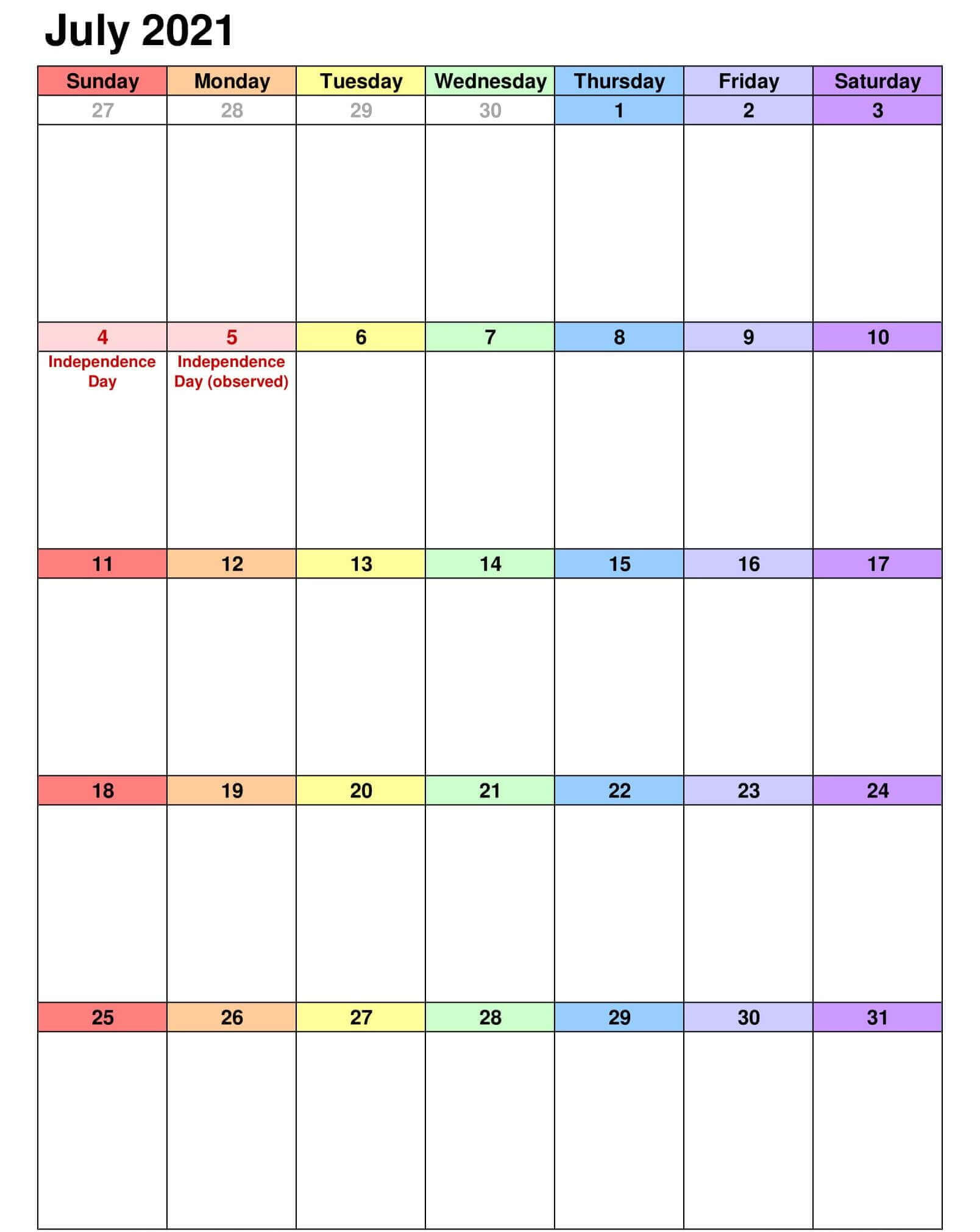 July 2021 Holidays Calendar Template