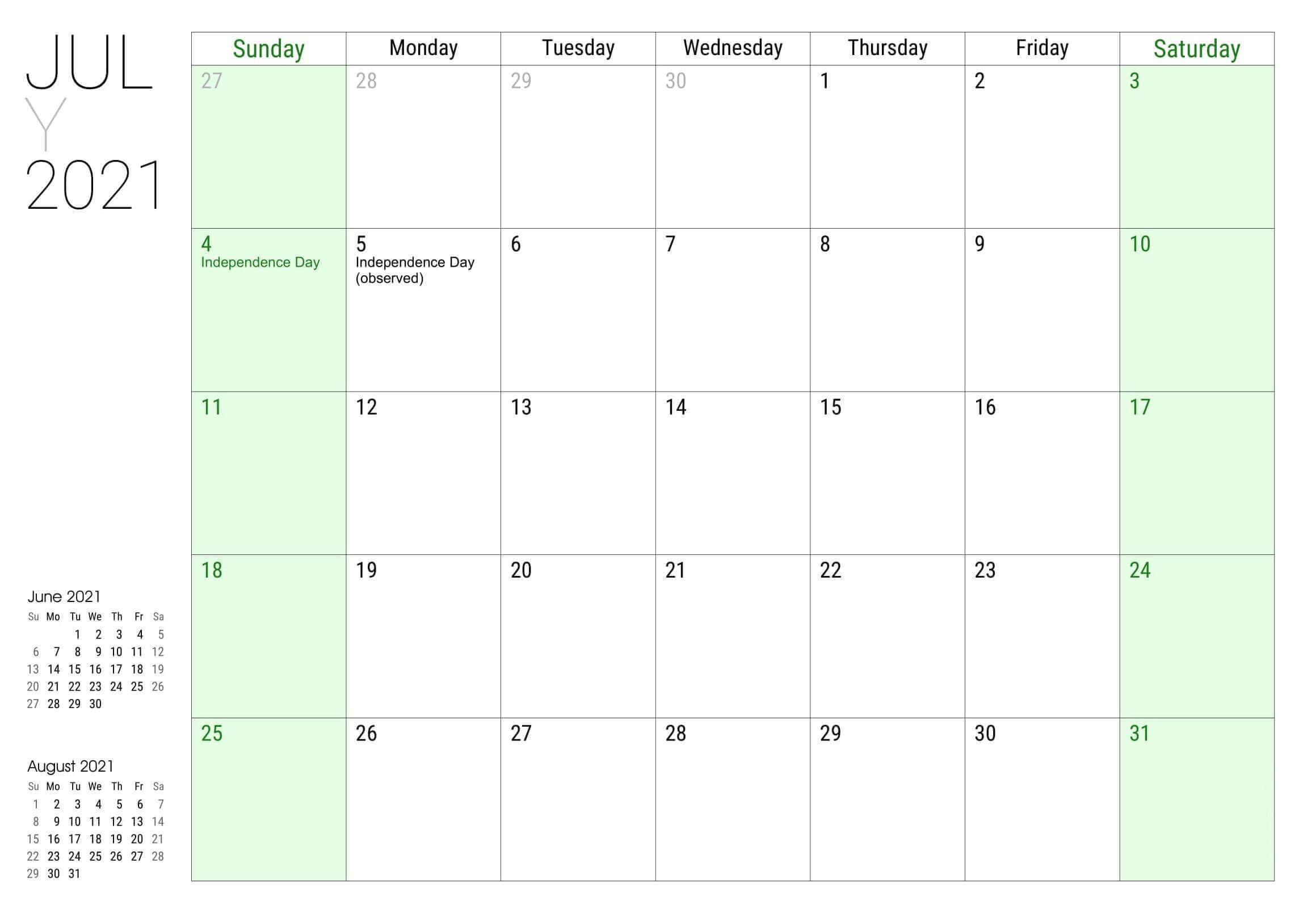 July 2021 Public Holidays Calendar