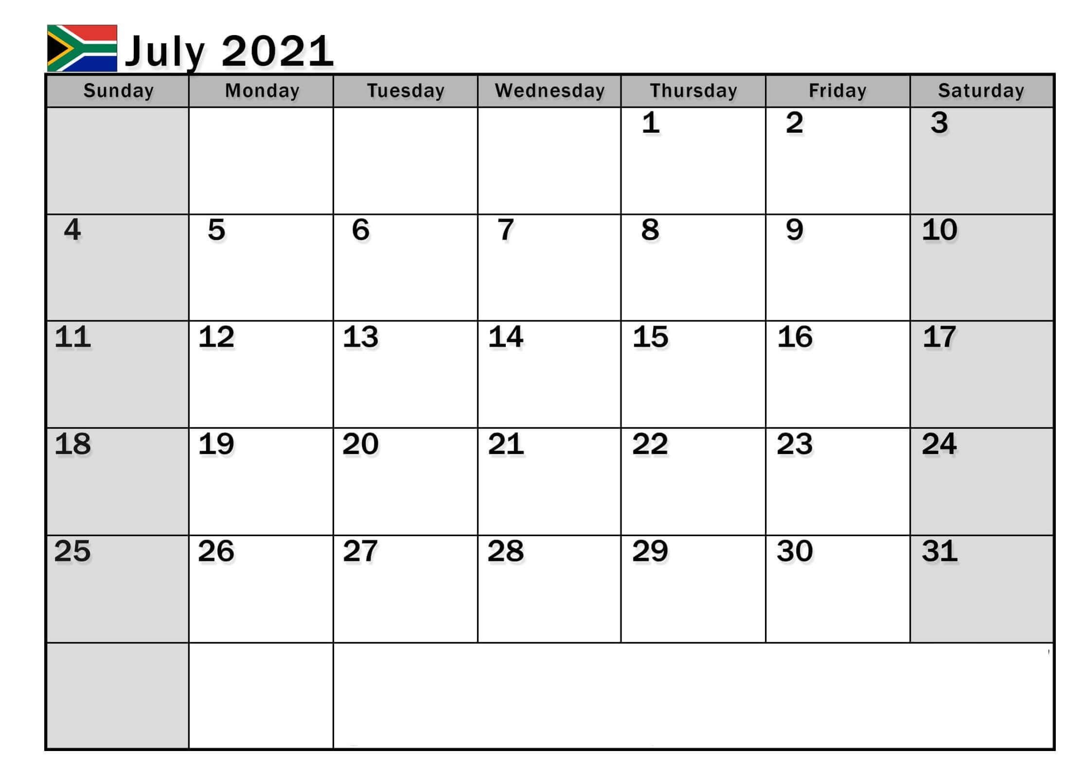 July 2021 South Africa Holidays Calendar