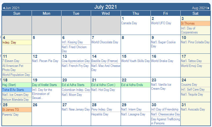 July 2021 USA Holisays Calendar