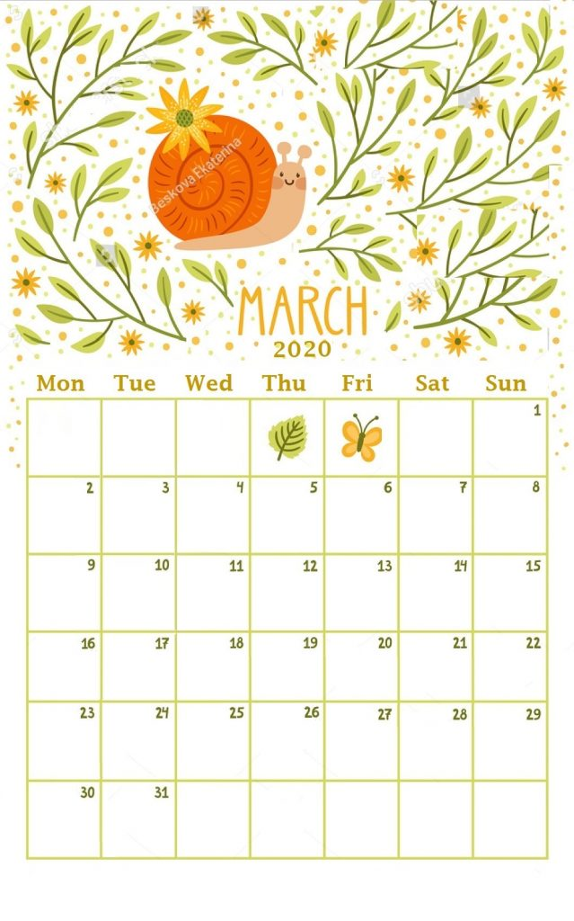 March 2020 Home Wall Calendar