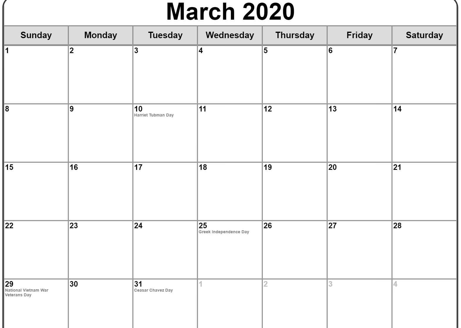 March 2020 Monthly Calendar With Holidays UK