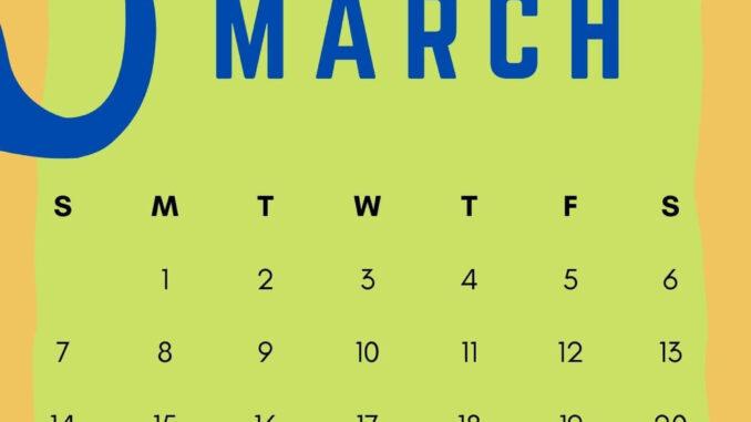 March 2021 Calendar Design Printable