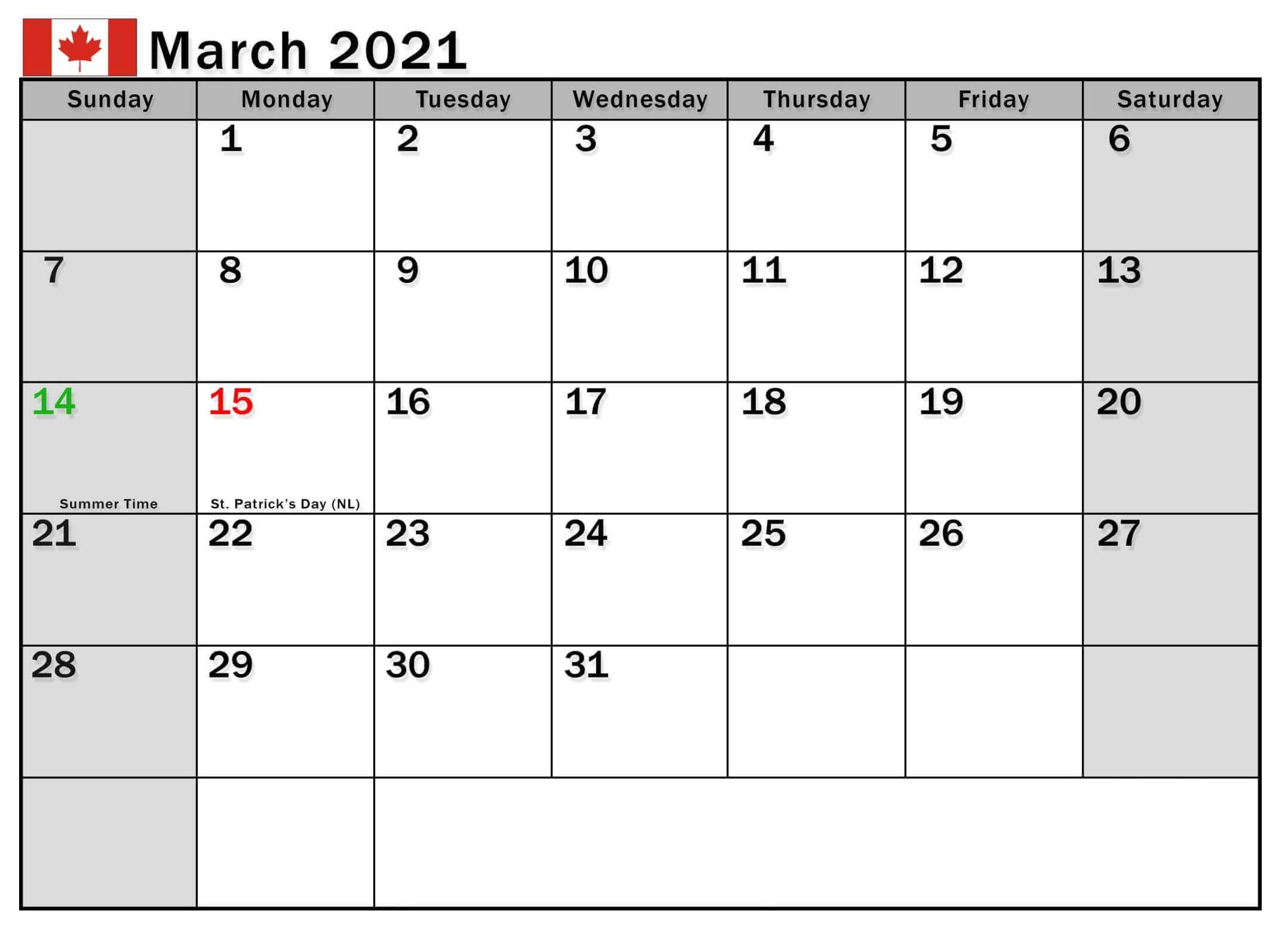 March 2021 Calendar with Holidays Canada