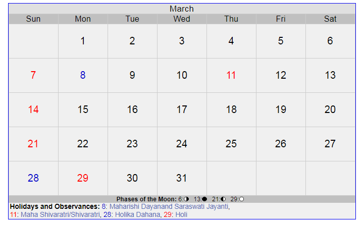 March 2021 Calendar with Holidays India