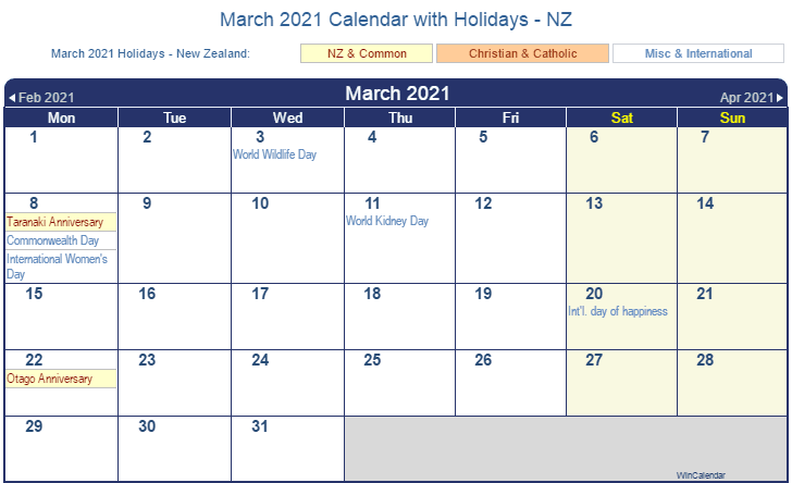 March 2021 Calendar with Holidays NZ