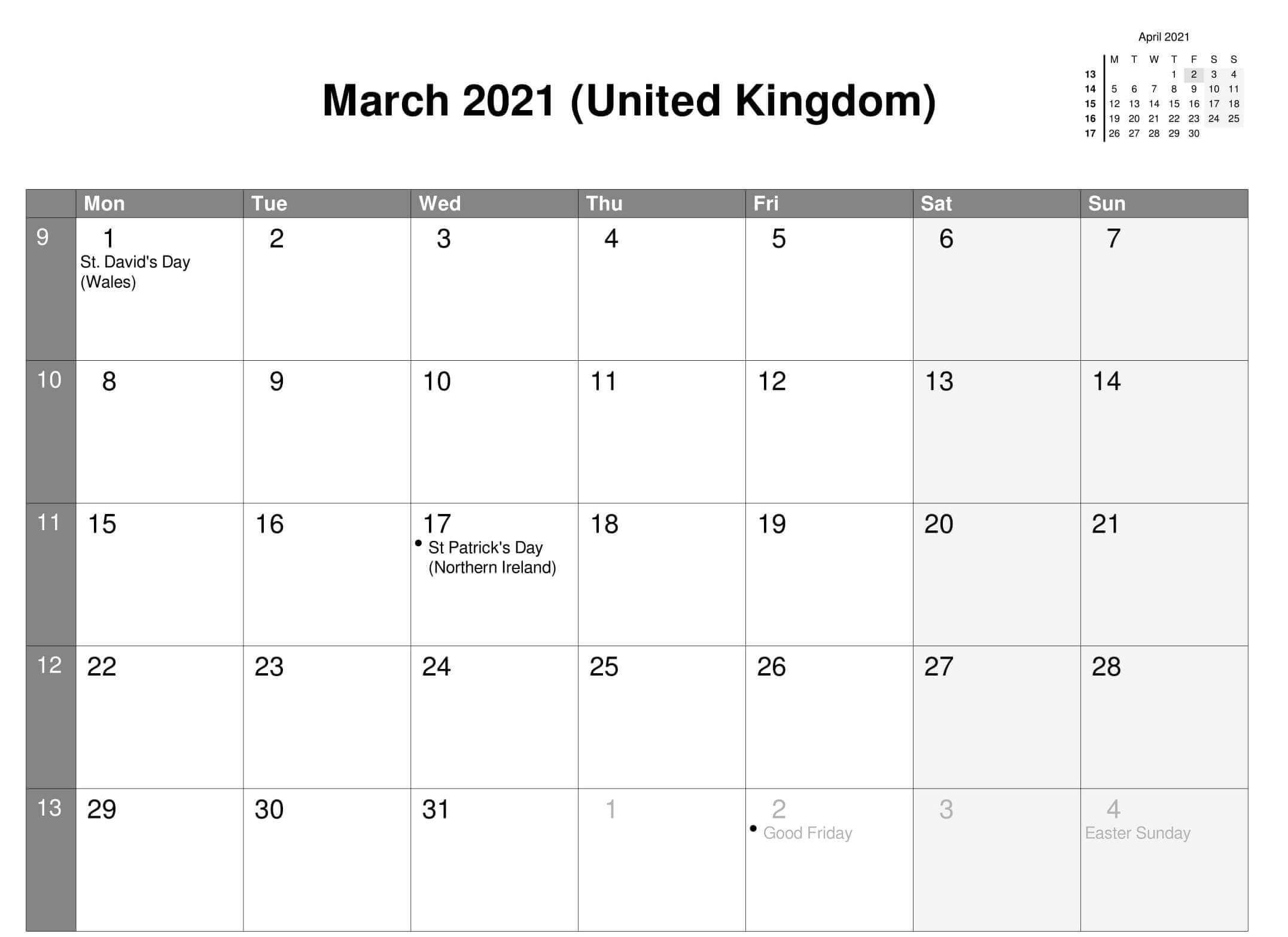 March 2021 Calendar with United Kingdom Holidays