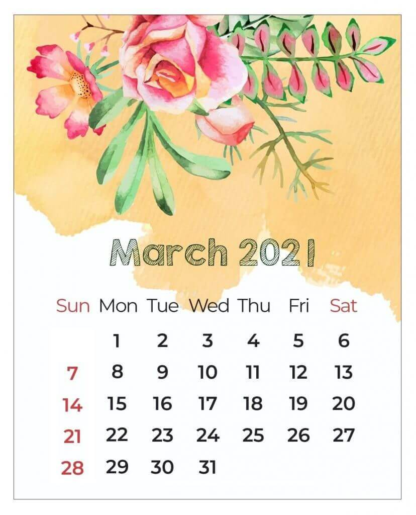 March 2021 Floral Calendar Template