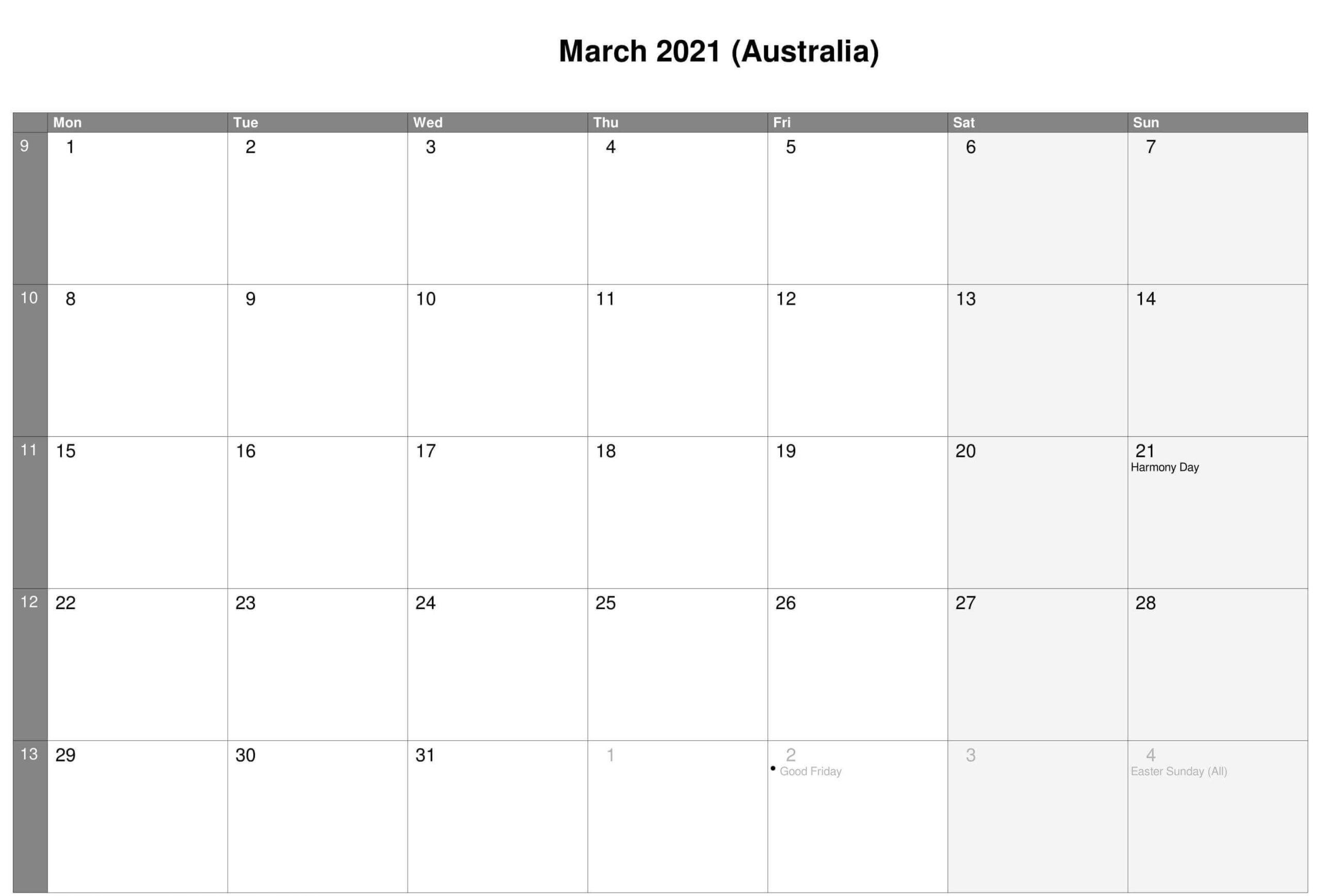 March Australia Holidays Calendar 2021
