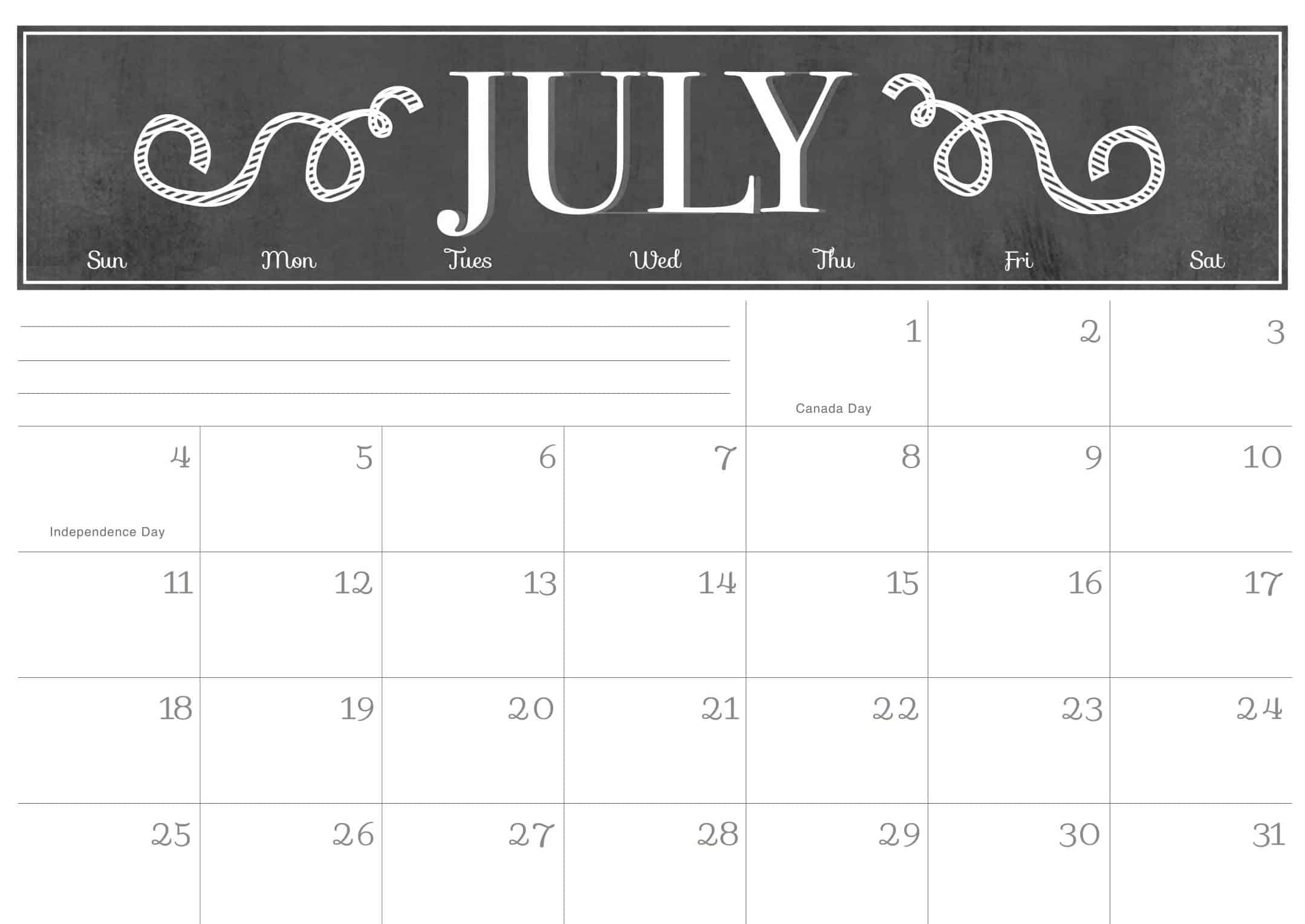 Monthly Blank Calendar July 2021