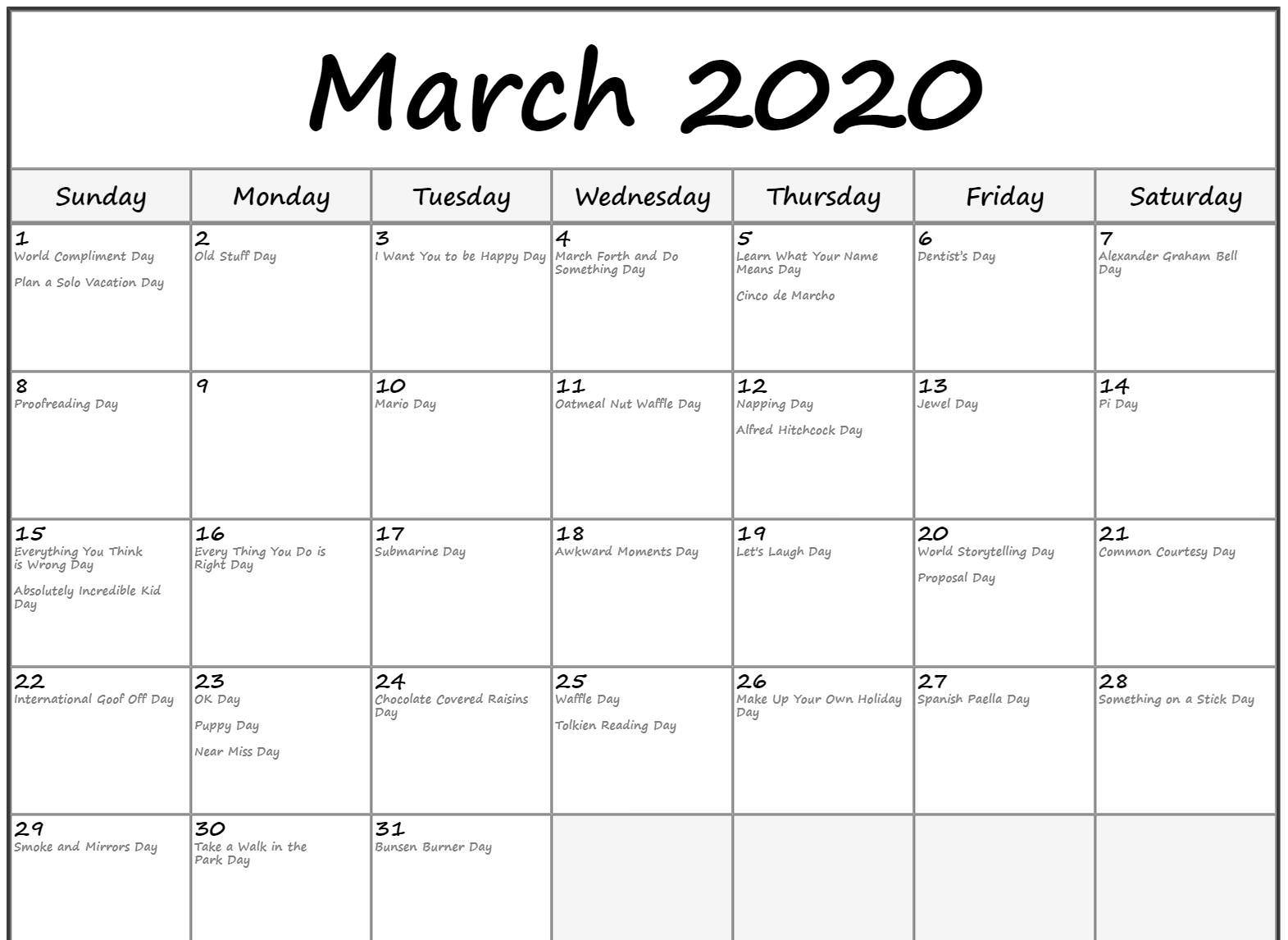 Printable March 2020 Calendar With Holidays