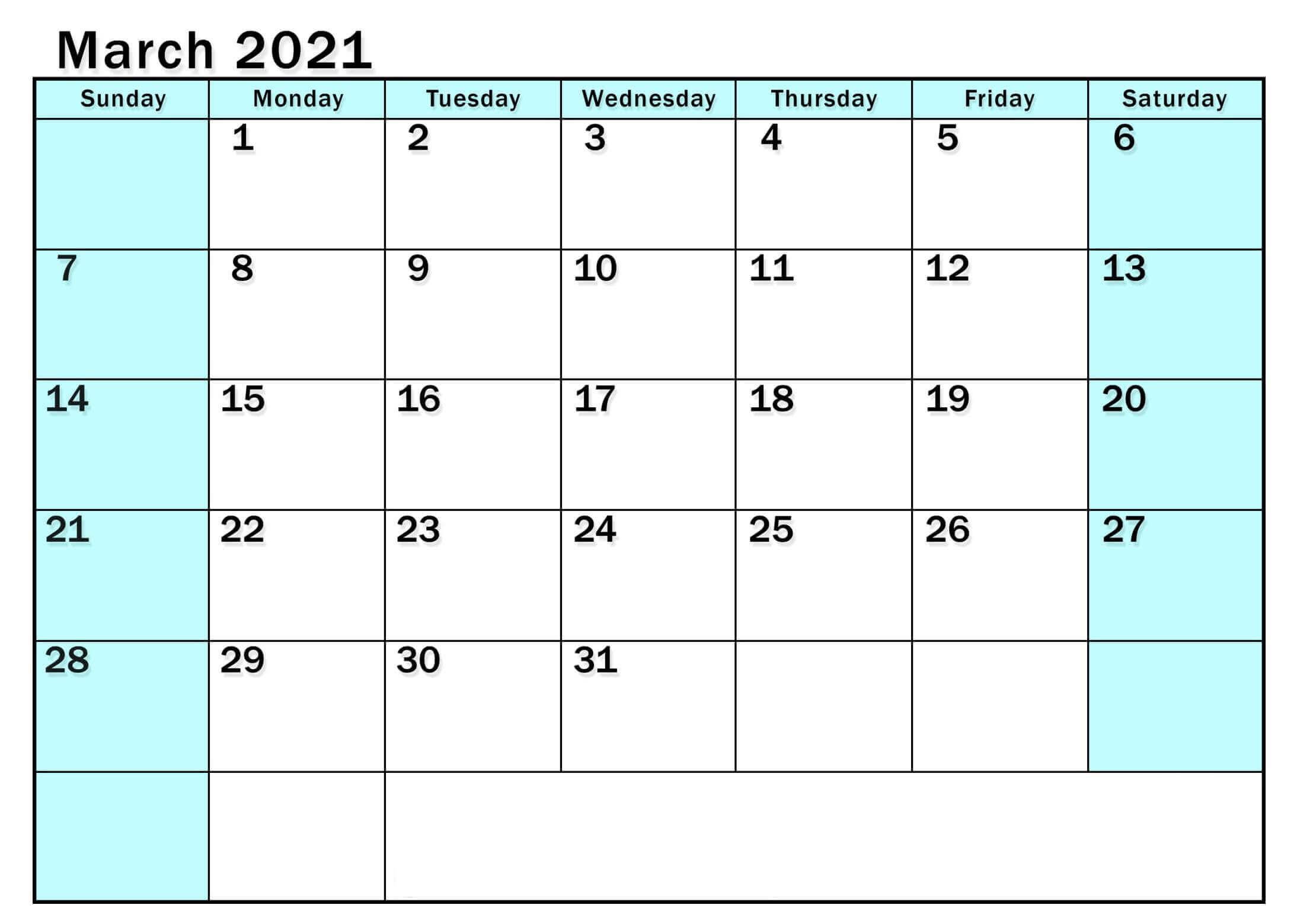 Printable March 2021 Blank Calendar