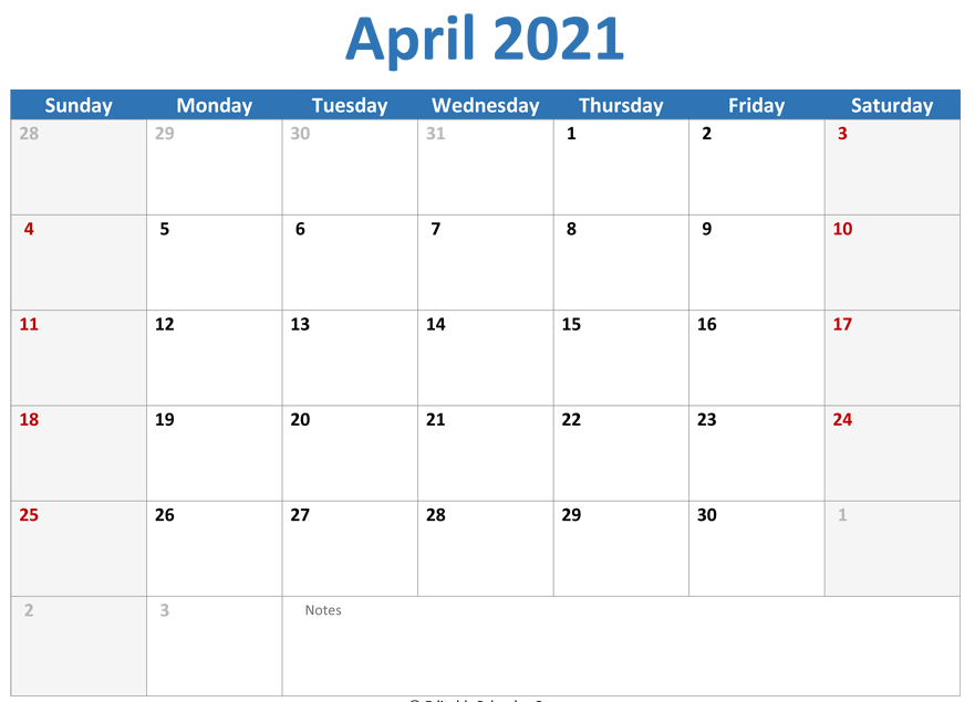 2021 April Blank Calendar