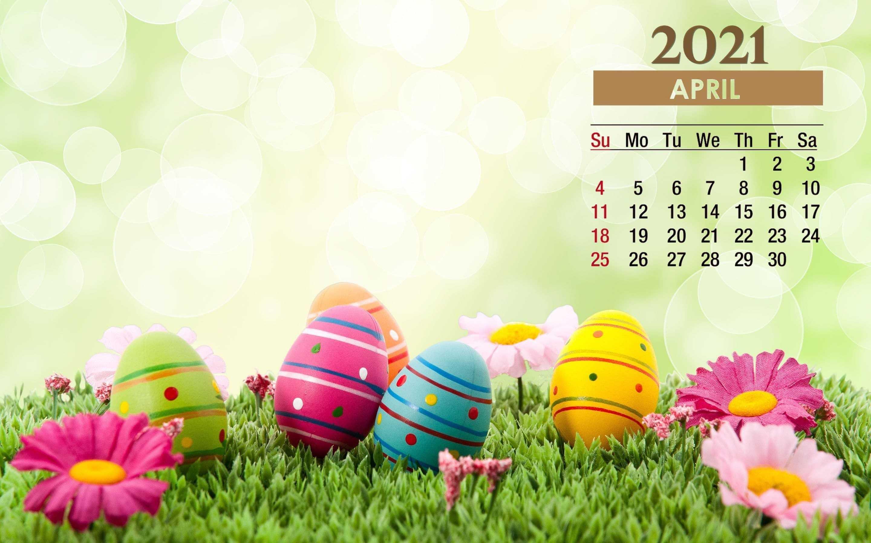 2021 Easter April Calendar Wallpaper