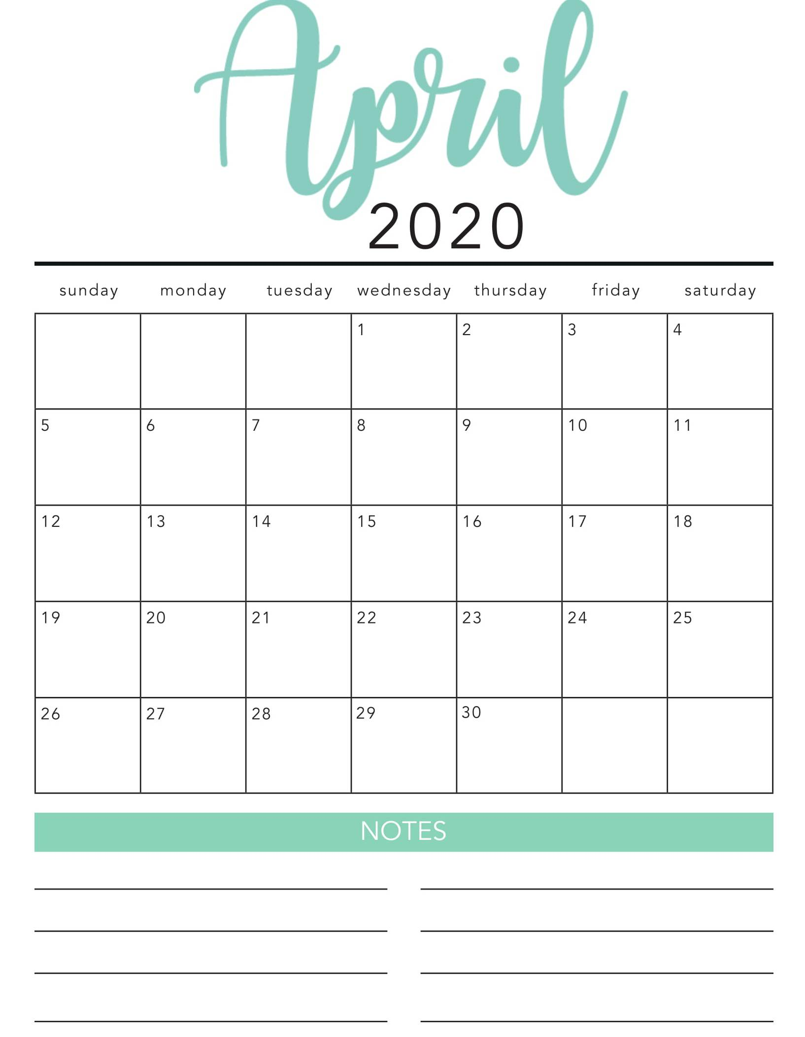 April 2020 Calendar Cute Template