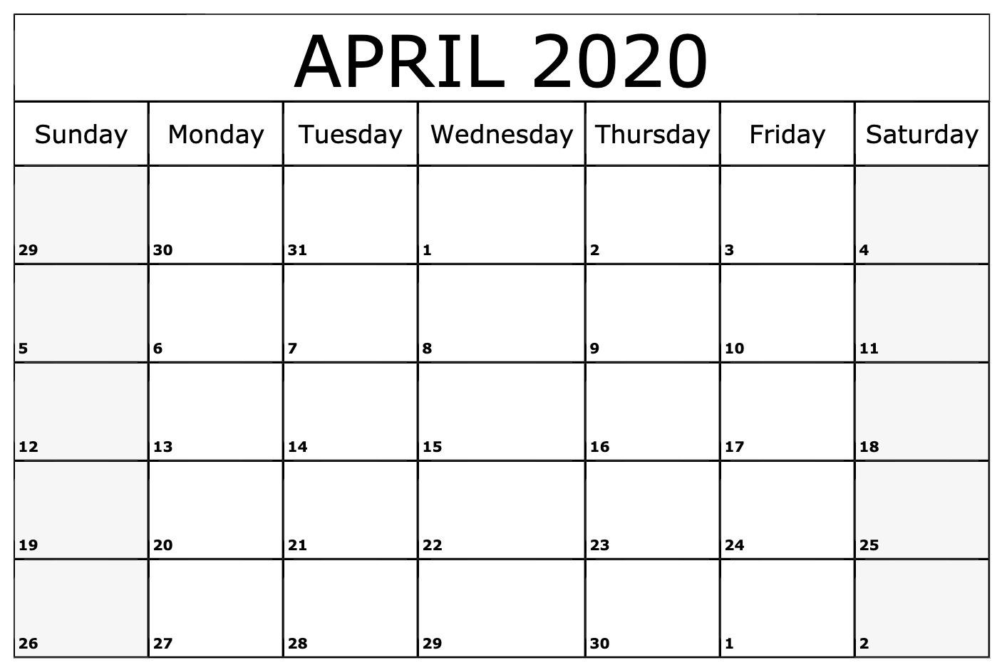 April 2020 Calendar Template Blank