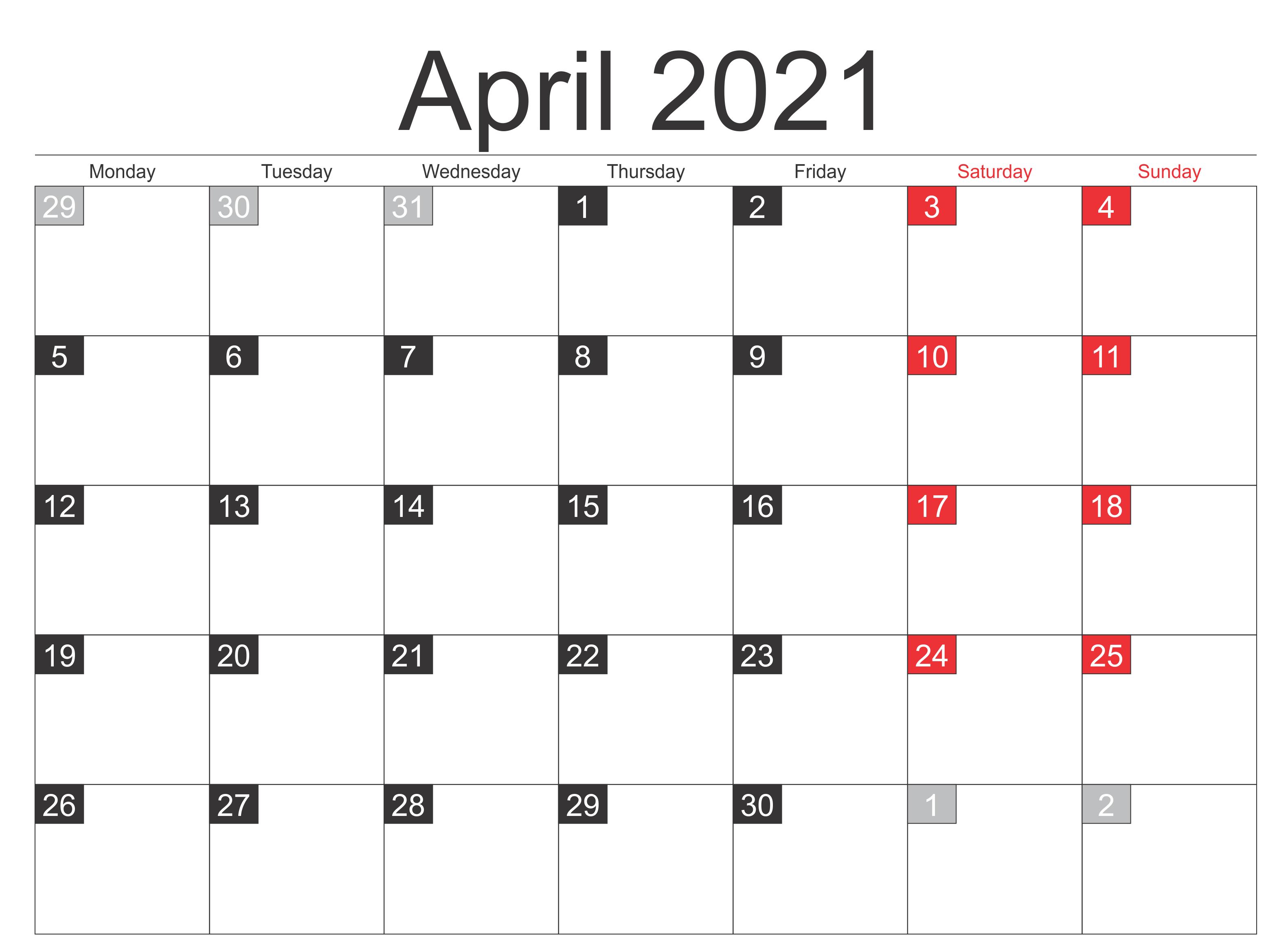 April 2021 Calendar Blank