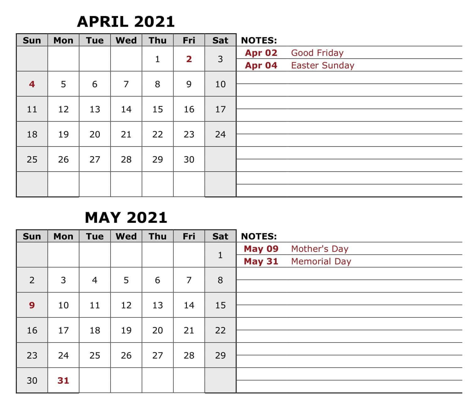 April May 2021 Blank Calendar