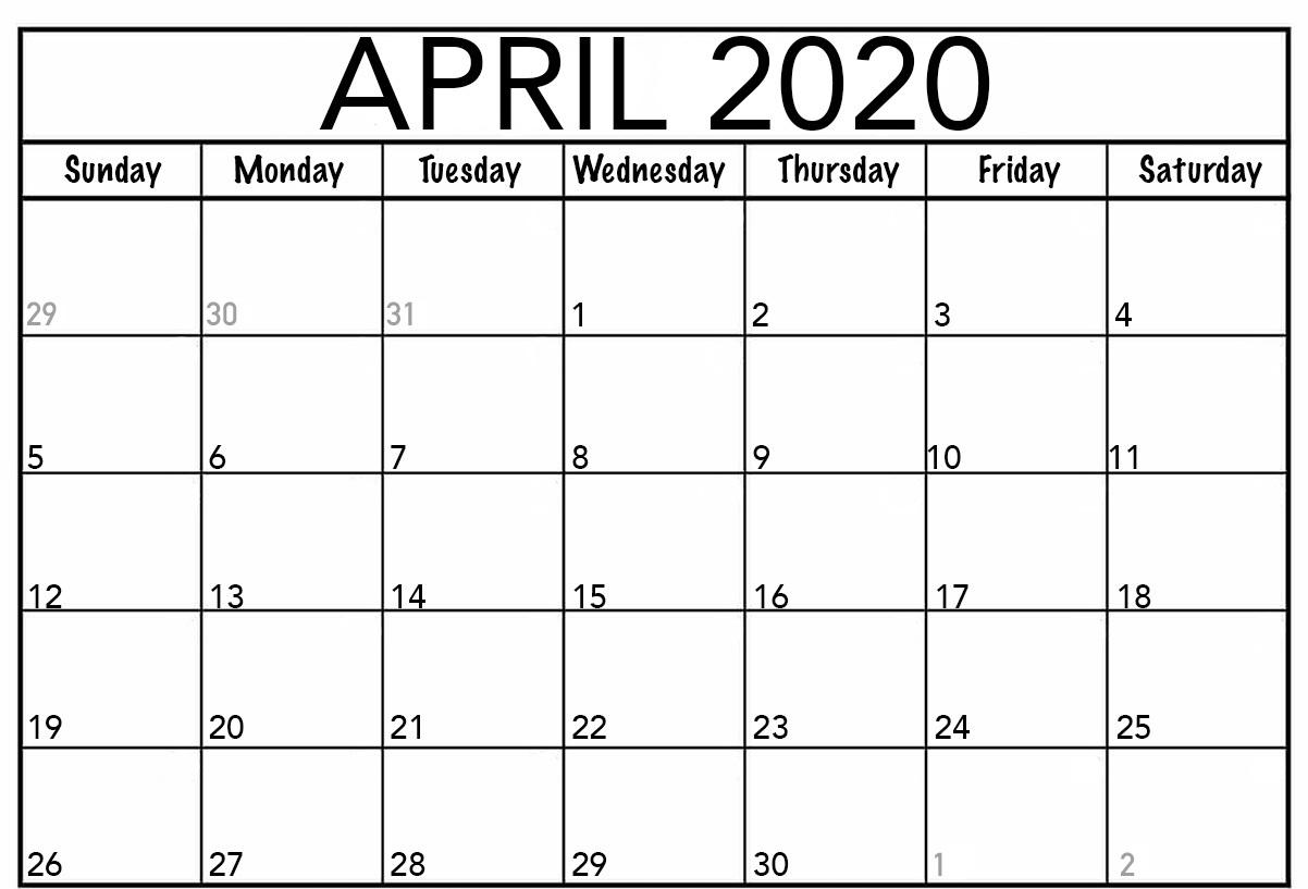 Blank April 2020 Calendar