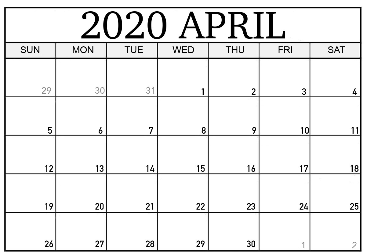Blank April 2020 Printable Calendar Excel