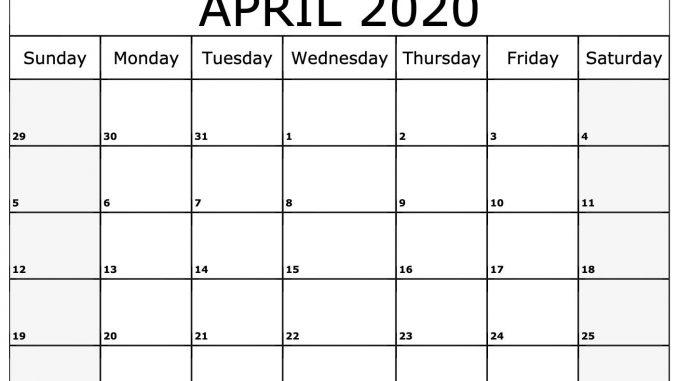 Blank April 2020 Printable Calendar PDF