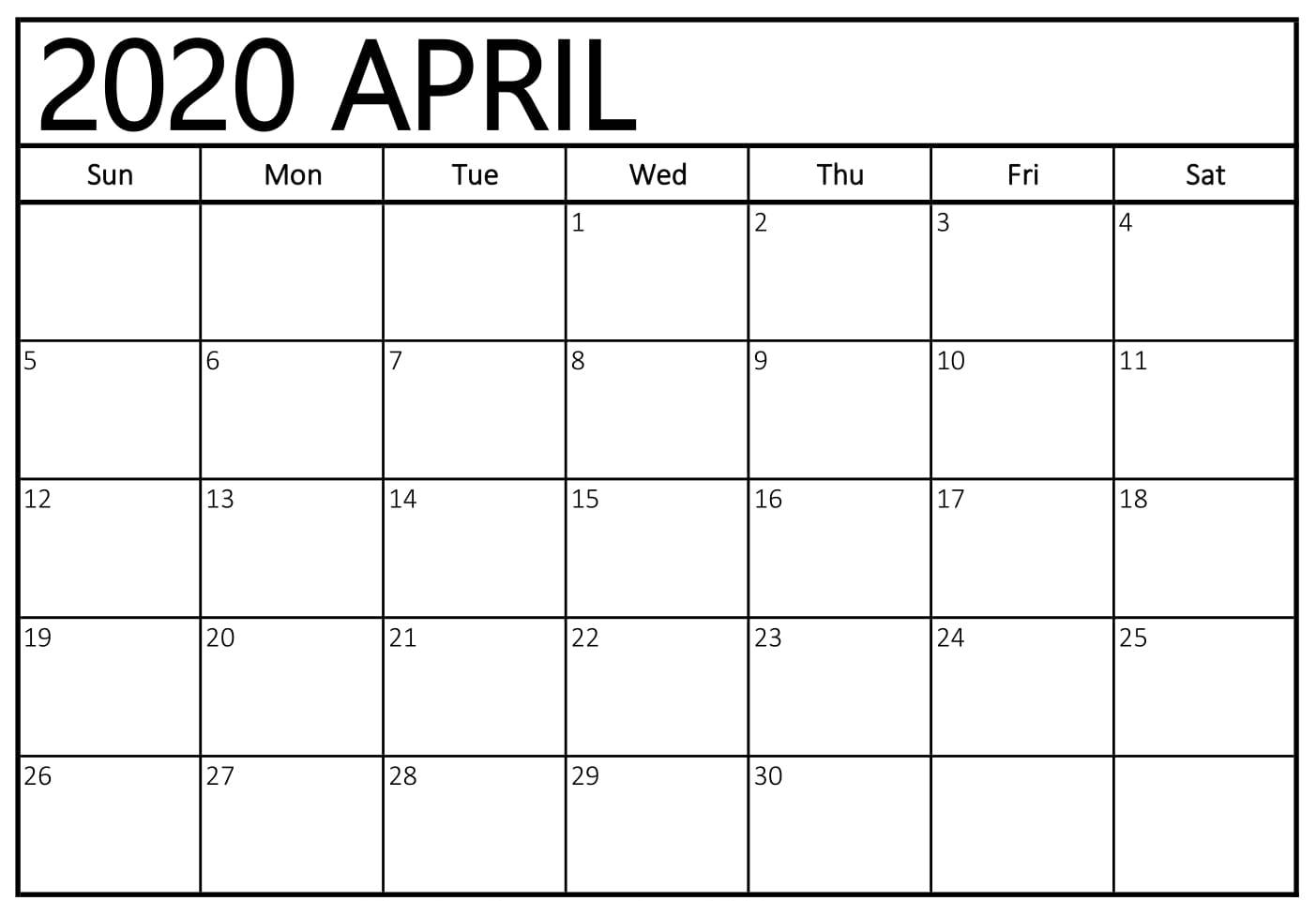 Blank April 2020 Printable Calendar Word