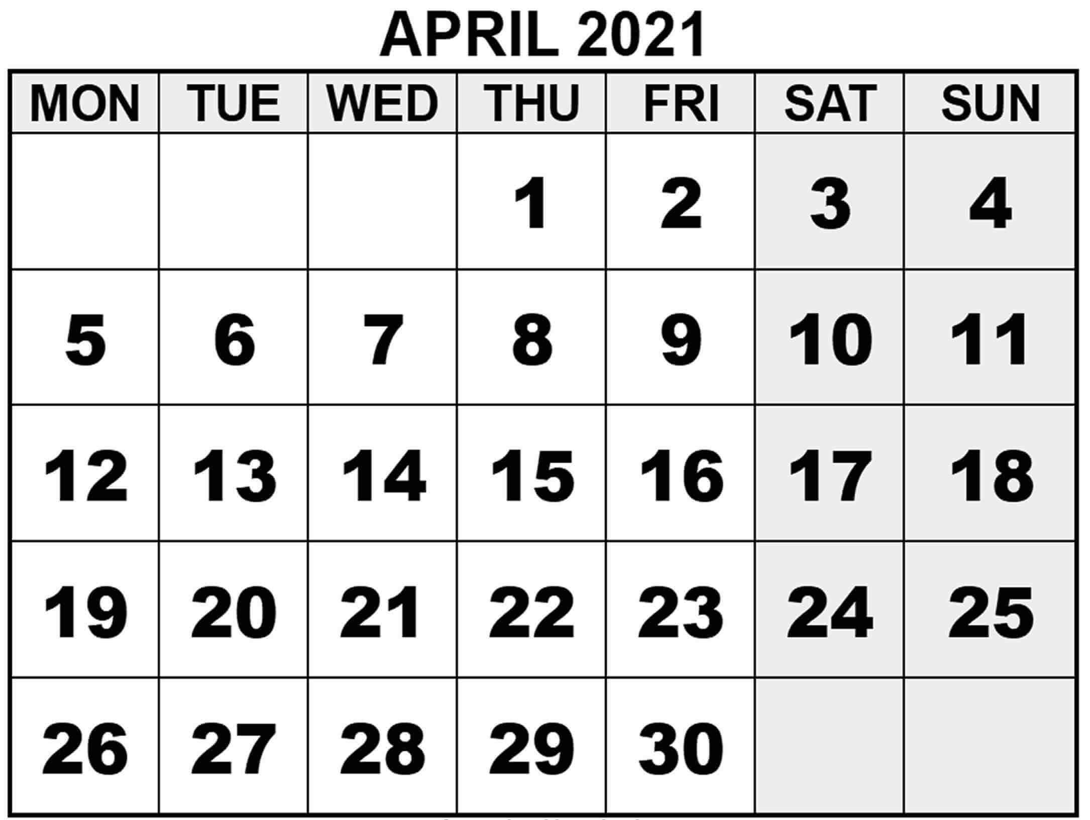 Blank Calendar Pages April 2021