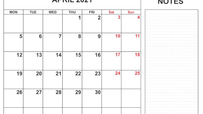 Blank Calendar Template April 2021
