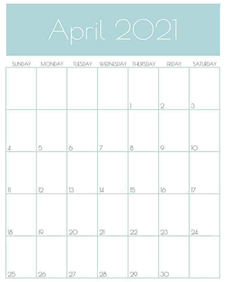 Decorative Cute April 2021 Calendar Design
