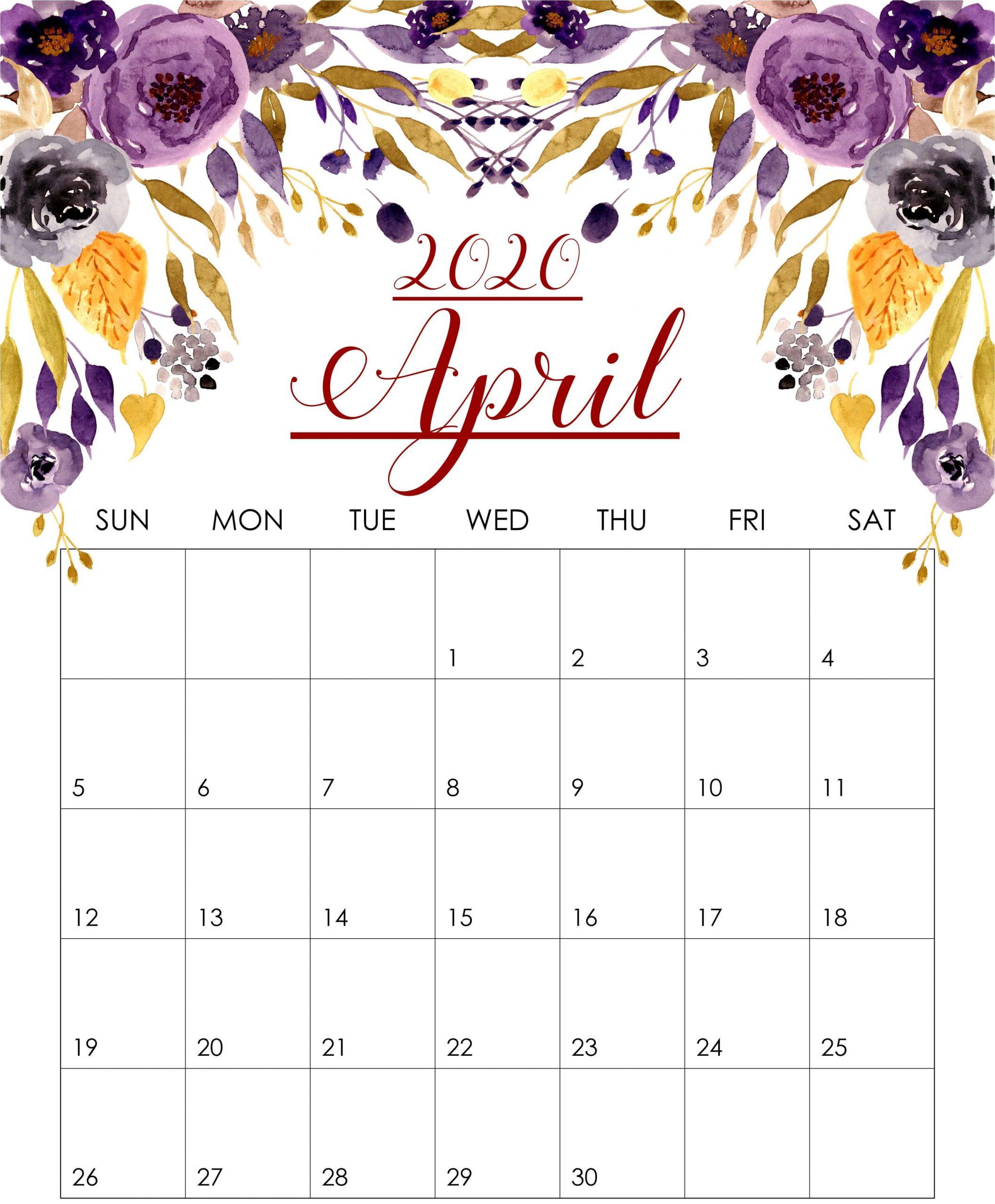 Floral April 2020 Wall Calendar