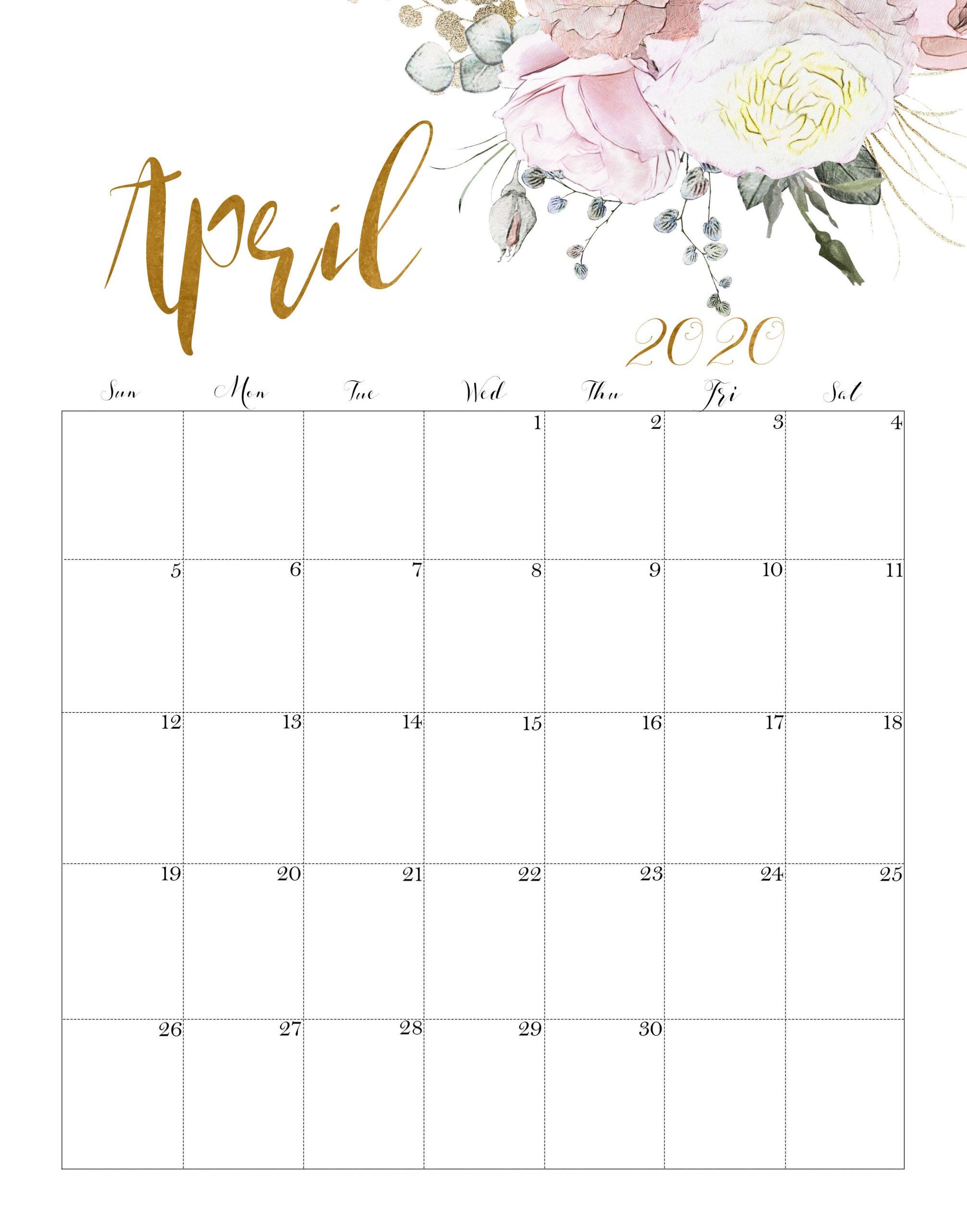Floral Calendar April 2020 Cute