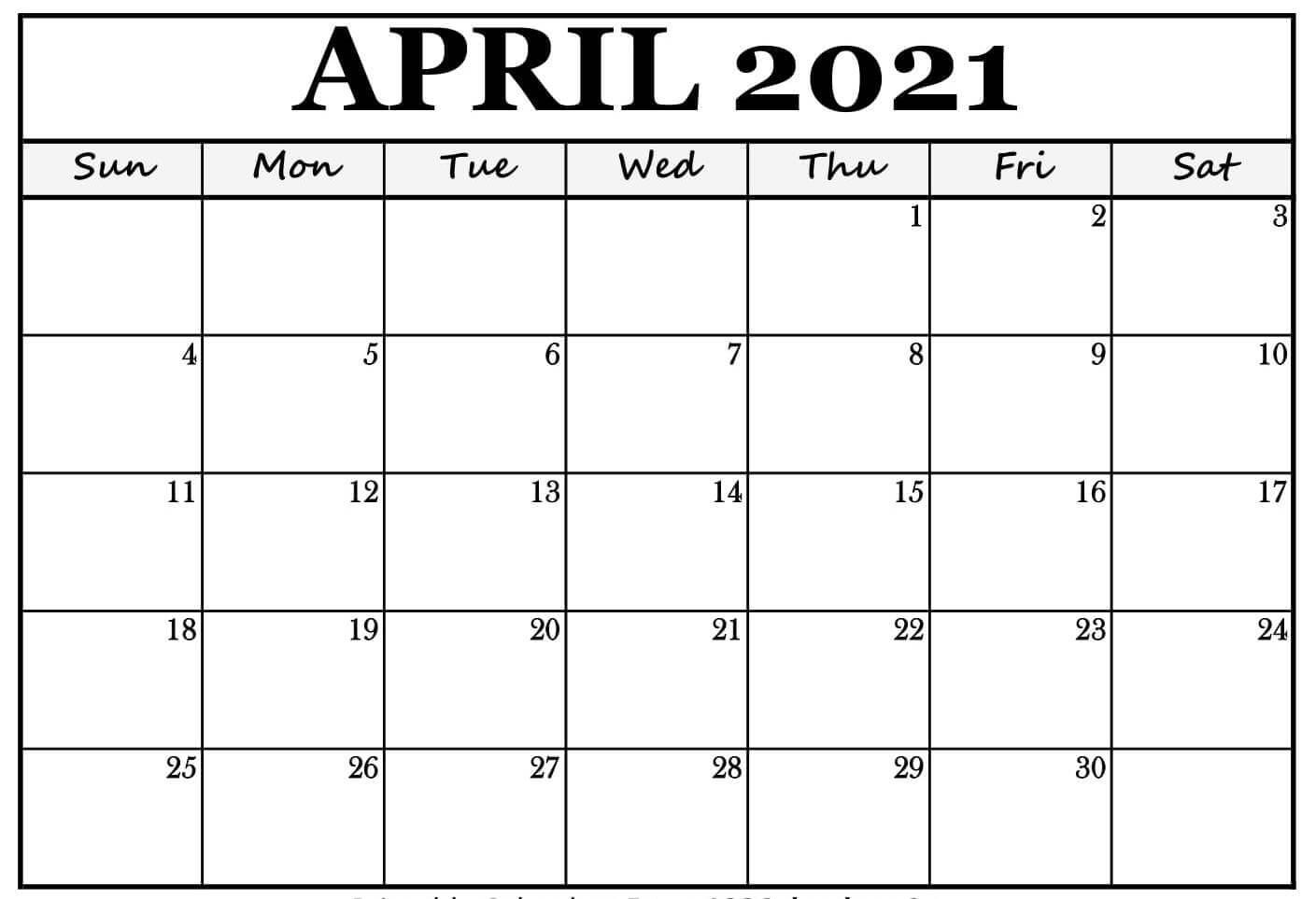 Free Blank April 2021 Calendar
