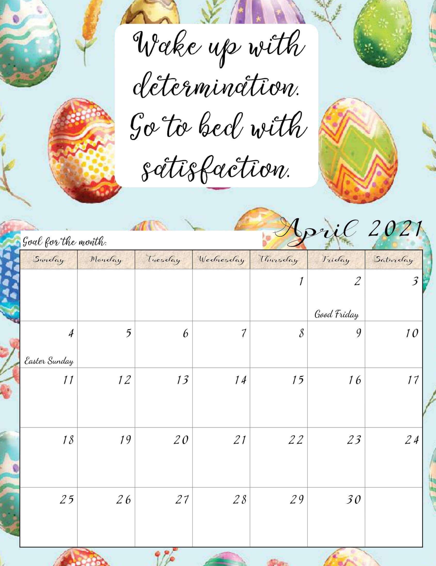 Inspirational April 2021 Calendar with Quotes
