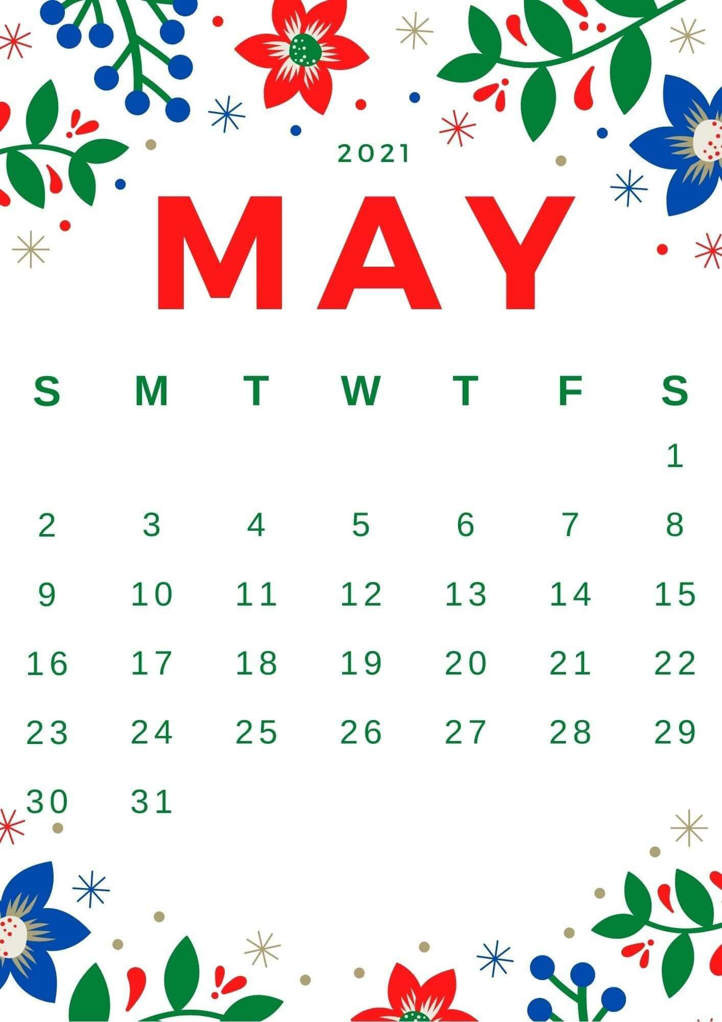 2021 May Floral Calendar