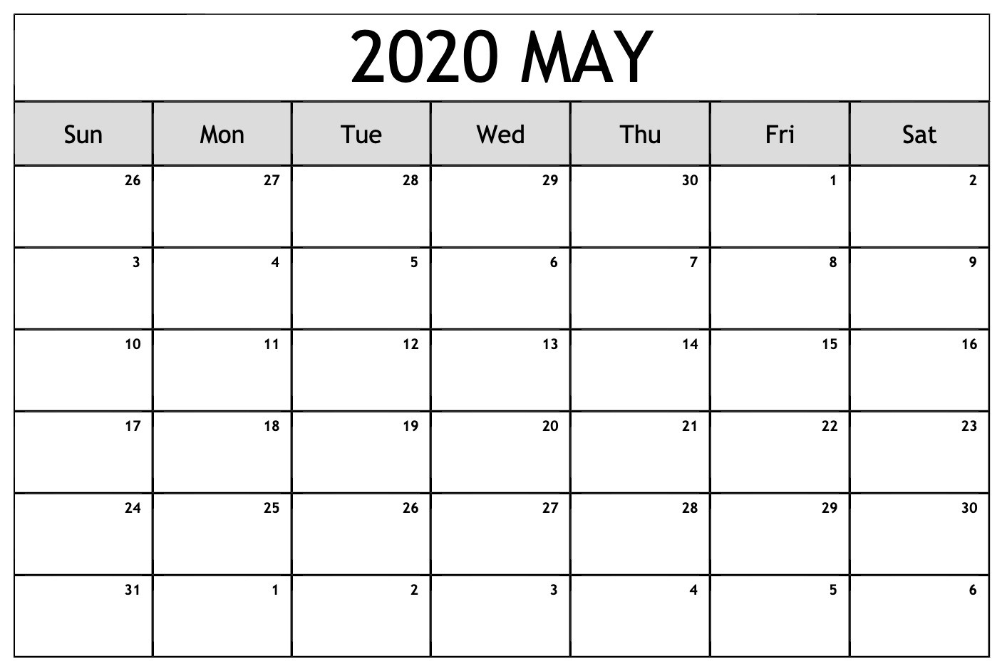 Blank May 2020 Calendar Templates