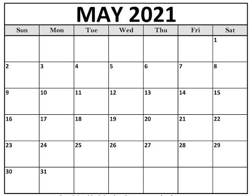 Blank May 2021 USA Calendar