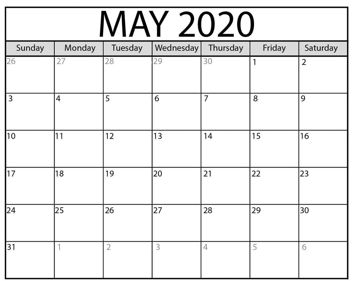 Blank May Calendar 2020
