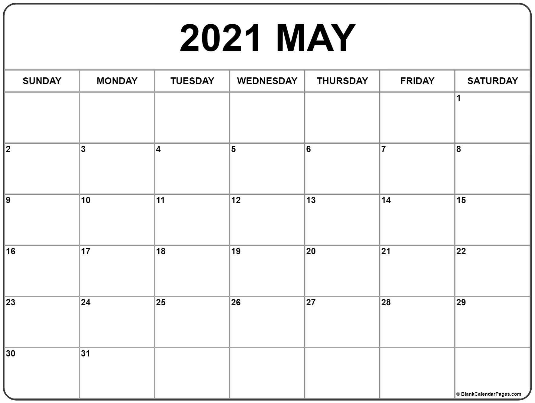 Calendar May 2021 Blank