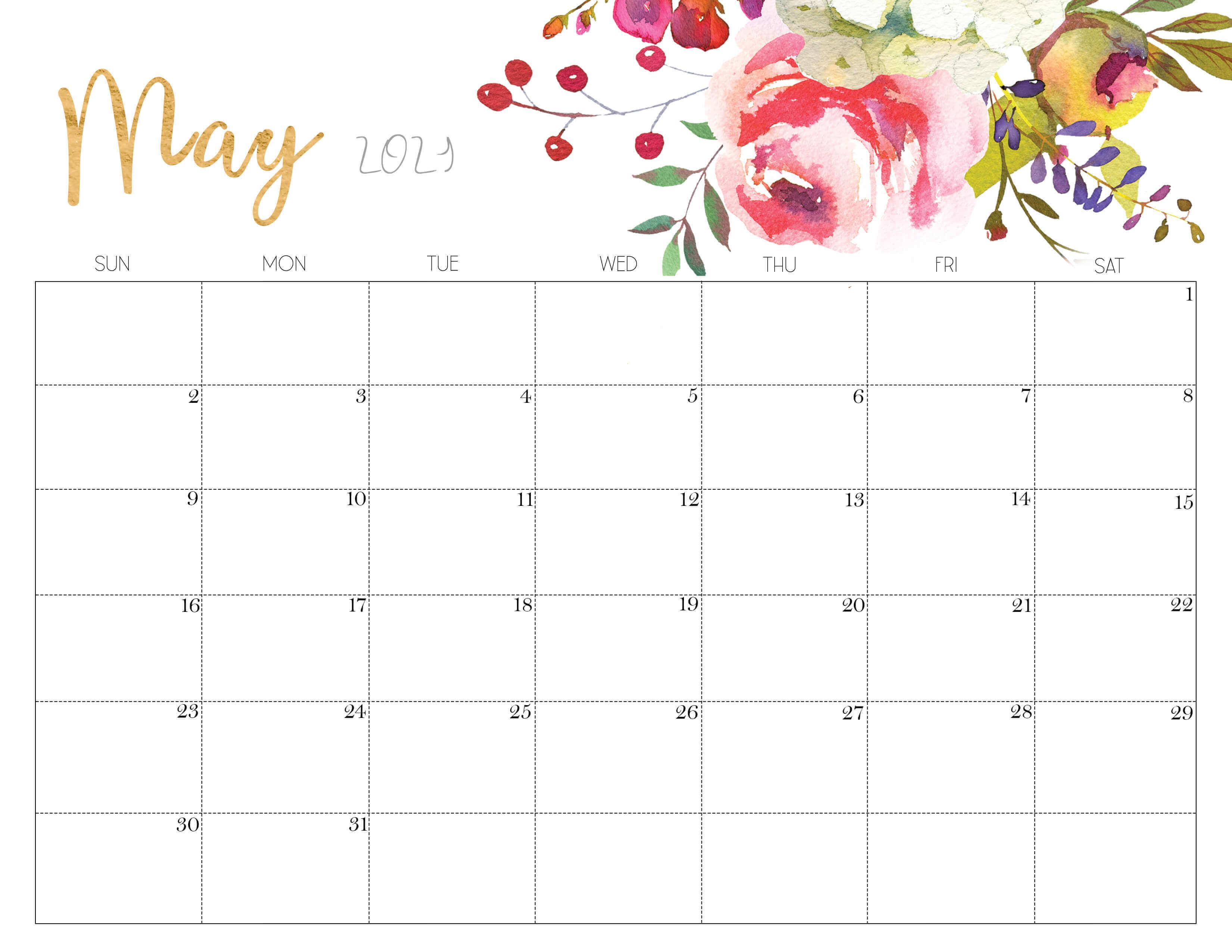 Cute May 2021 Calendar Printable
