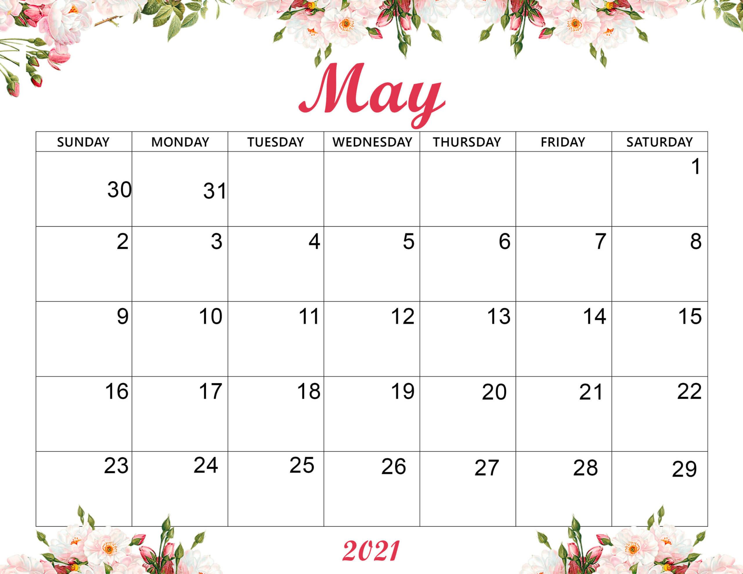 Cute May 2021 Calendar Template