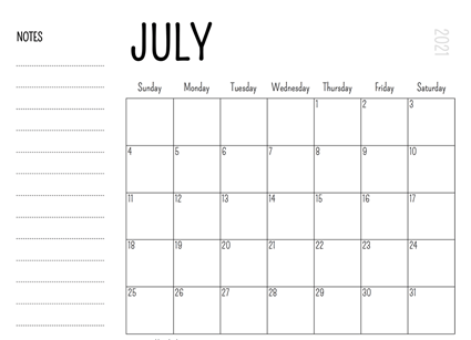 Editable July 2021 Calendar With Notes