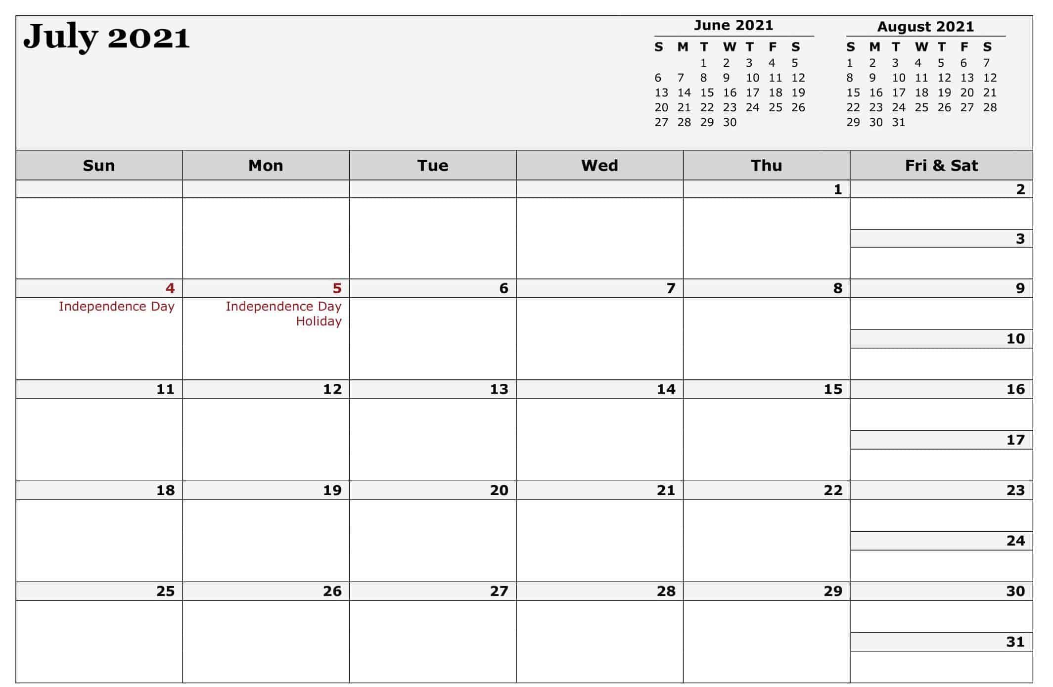 Editable July 2021 Calendar