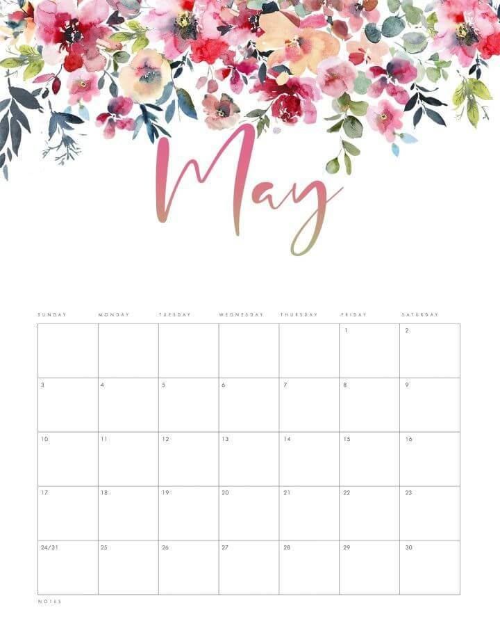 Floral May 2021 Calendar Template