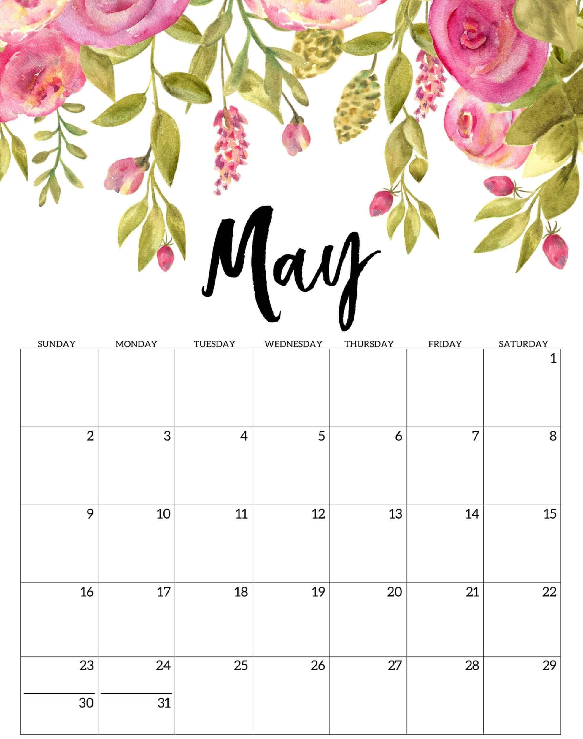 Floral May 2021 Calendar