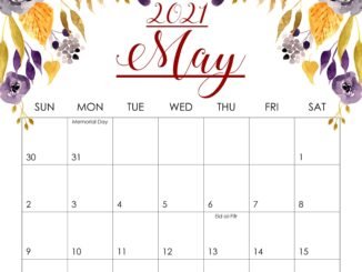 Floral May 2021 Desktop Calendar Wallpaper